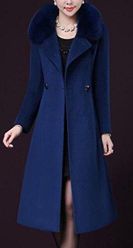 Slim today Womens Fur Blend Sleeve Fit Wool Elegant Jacket Long Faux Blue Dark UK Collar R8rxRUan