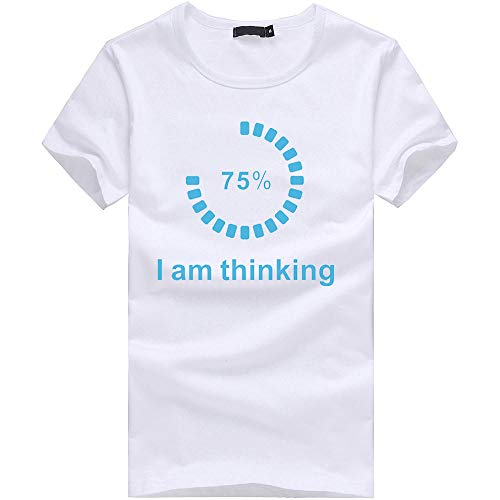Eolgo Mens T-Shirt, Plus Size Thinking Creative Print Blouse, Fashion Summer Sport Casual Tops White by Eolgo (Image #4)