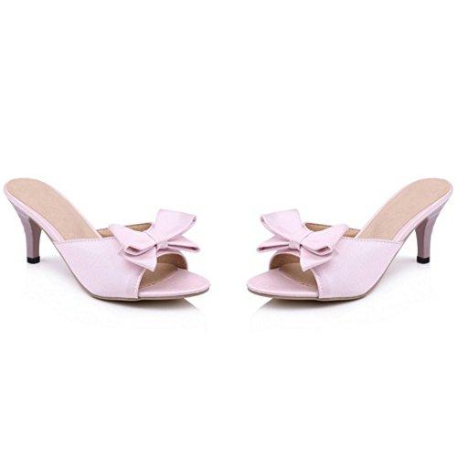 Mujer Sandalias Moda TAOFFEN Tacon Cordones 937 sin Talon Alto Bowknot Rosado Zapatos Abierto qwdgvpSd