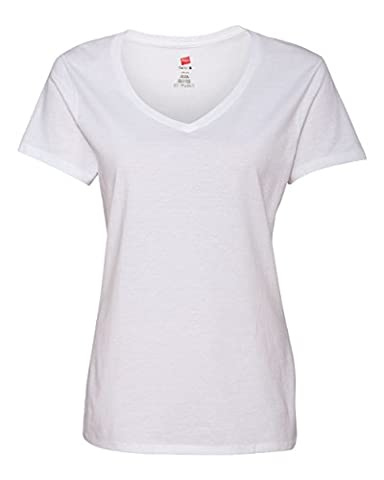 Hanes Women's Nano- V-Neck T-Shirt White