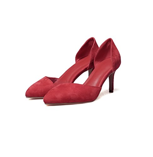 Balamasa Dames Bout Pointu Pointes Talons Hauts Coupe Basse Chaussures Pompes Rouges
