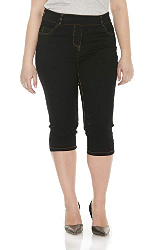 Suko Jeans for Women Plus Size Pull On Denim Capris 17412 Black 16