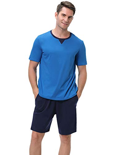 (Sykooria Mens Pajamas Set Lightweight Cotton Soft Short Sleeve Sleepwear Loungewear)