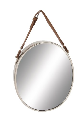 Deco 79 Steel Leather Wall Mirror, 14 by 25