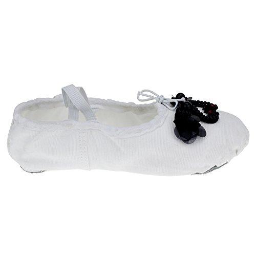 Canvas Balett Platt Split-sula Sula Med Svan Vit