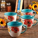 The Pioneer Woman Flea Market 16 oz Footed Decorated Mugs, Set of 4 ( Floral Turquoise)