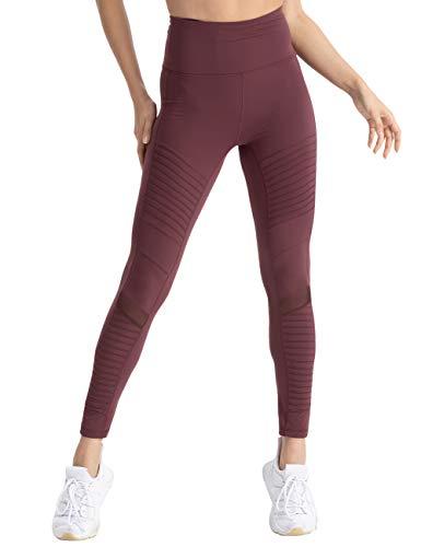 - coastal rose Women's High Waist Yoga Pants Ankle Moto Leggings Workout Tights M Port Royale