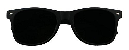 Basik Eyewear - Super Dark Black Lens Springe Hinge Vintage Retro Wayfarer Sunglasses - shadyglasses.us
