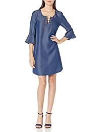 Women's Denim Laced-Front Shift Dress