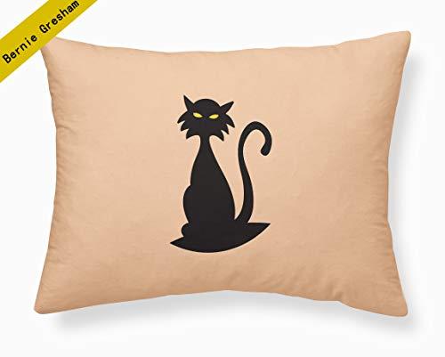Bernie Gresham Funny Words Pillow Case Creepy Cat - Design Halloween Applique Pillowcases Custom Soft-Home Decoration 20