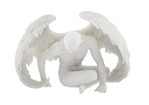 - Veronese Design Nude Winged Male Angel Sitting Marble Finish Statue