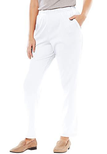 Woman Within Women's Plus Size 7-Day Knit Straight Leg Pant - White, 2X