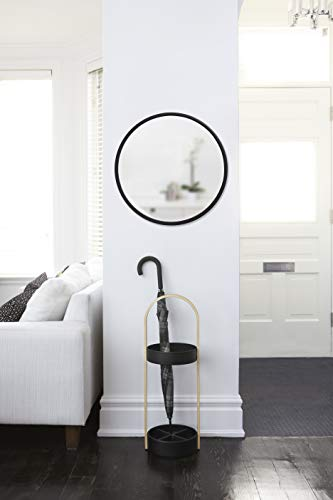 Umbra 1008243-040 Hub Wall Mirror With Rubber Frame - 24-Inch Round Wall Mirror for Entryways, Washrooms, Living Rooms and More, Doubles as Modern Wall Art, Black - LARGE, ROUND MIRROR: Hub is a 24-inch diameter mirror, with contemporary rubber frame that looks great in any room DECORATIVE RUBBER FRAME: Hub's innovative rubber frame not only adds to the look of this large wall mirror, but also doubles as a protective bumper; making it ideal for high-traffic areas or for use as a bathroom mirror BOOSTS LIGHT: Hub's large size is ideal for reflecting both natural and artificial light to help brighten any room, day or night - mirrors-bedroom-decor, bedroom-decor, bedroom - 31RminAGiFL -
