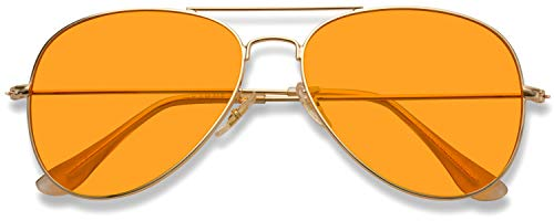 Classic Aviator Style Metal Frame Sunglasses Colored Lens (Orange, 59)]()
