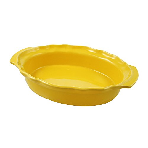 Swissmar Le Cordon Bleu Charmant Large Oval Roasting Dish, 4.2 Quart, Jaune Yellow