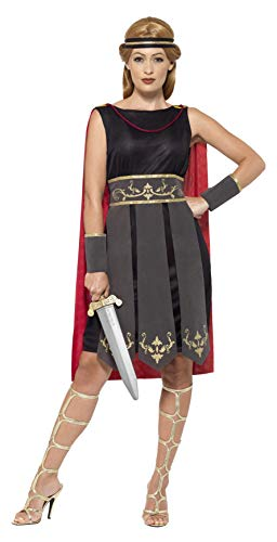 Roman Warrior Costume Black With Dress Attached Cape Arm Cuffs & Headband]()