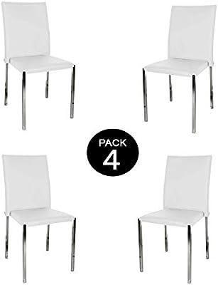 MUEBLIX | Pack 4 Sillas Blancas | Fabricadas en Piel Sintética PU ...