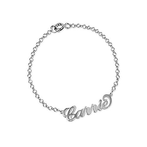 (MissNity Personalized 925 Sterling Silver Name Anklet Bracelet-Custom Made with Any Names for Women(10))