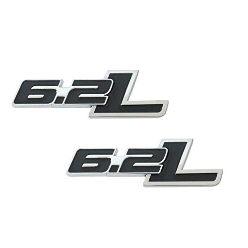 6.2 Liter Engine Aluminum Emblems Badges in Silver and Black – 4.5″ Long Pair