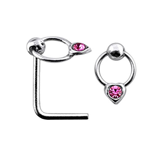 Pink Jeweled Heart (Pink Jeweled Heart on Moving Ring Top 22 Gauge Silver L Shape - L Bend Nose Stud Nose Pin)