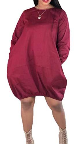 (Gocgt Women's Cocoon Midi Dress Bubble Hem Long Sleeve with Pockets Wine Red XL)