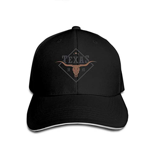 Classic 100% Cotton Hat Caps Unisex Fashion Baseball Cap Adjustable Hip Hop Hat Texas State Print Longhorn Skull Design Stamp Label Typography Black