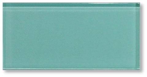 10 Square Feet -Teal Green 3x6 Glass Subway Tiles