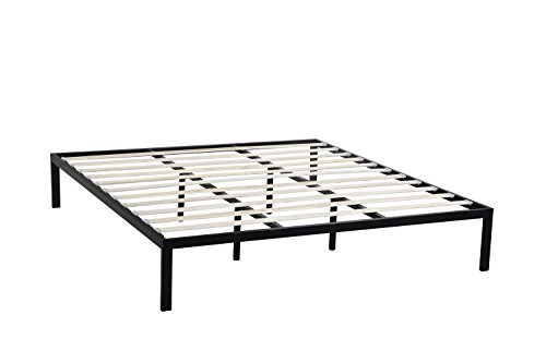Oliver Smith - Modern Heavy Duty Black Iron Metal Platform Bed with Slats / No Box Spring Needed / Wooden Slat Supports - 5 Year Warranty Included - 00014 - Queen