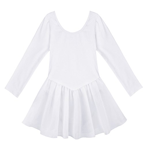 Polyester Dance (TiaoBug Kids Girls Classic Dance Ballet Dress Long Sleeve Gymnastic Leotard White 8-10)
