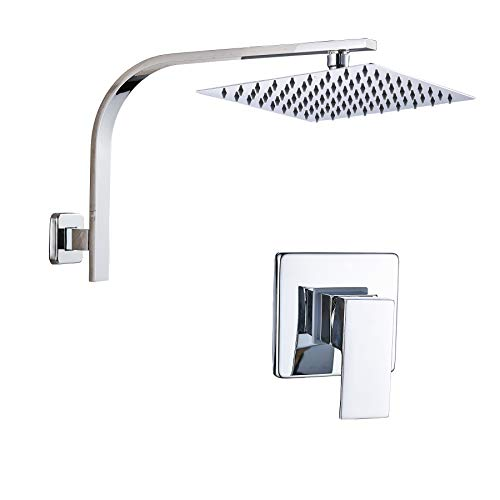 Rozin Single Lever Mixer Valve Control 10-inch Top Rainfall Shower Head Set Chrome ()