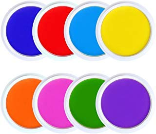 GooMart Washable Large Ink Pads for Rubber Stamps Kids (8 colors)