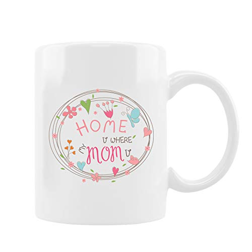 Mom Mugs 11Oz Coffee and Tea Cups, Funny Mothers Day Mug, White Bone China Cup with Handle, Warm Birthday Gift for Mom from Son and Daughter