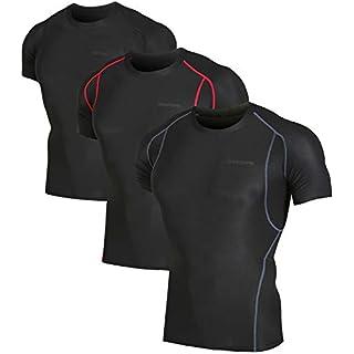 DEVOPS Men's 3 Pack Cool Dry Athletic Compression Short Sleeve Baselayer Workout T-Shirts (Medium, Black/Black/Black)