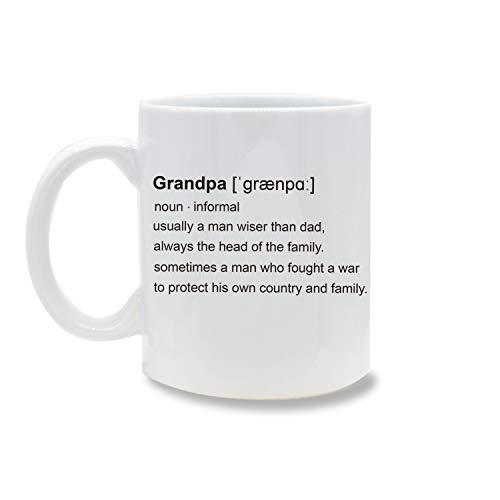 Funny Mug,Grandpa Definition Fathers Day Gift 11 OZ Coffee Mug Novelty, Office Tea Travel Mugs, Printed Ceramic Water Tea Drinks Cup ()