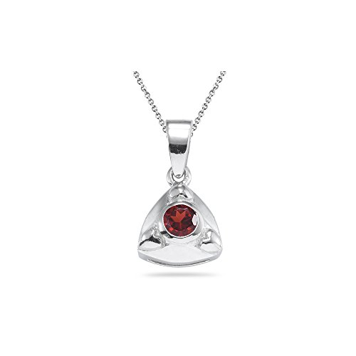0.20 Ct 4 mm AA Round Garnet Solitaire Trillion-shaped Pendant- Silver - Valentine's Day Sale