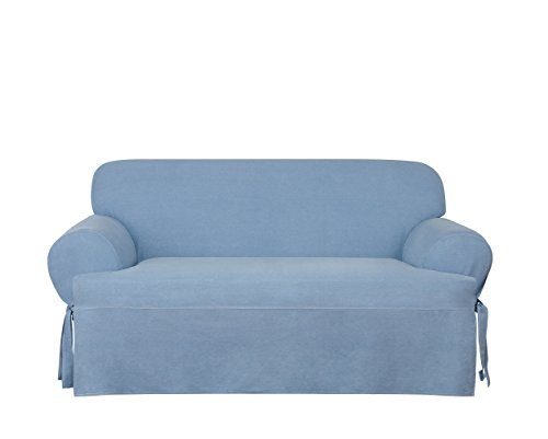 Sure Fit Authentic Denim One Piece T-Cushion Loveseat Slipcover - Chambray