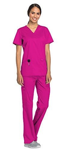 (Cherokee Workwear Revolution Women's Medical Uniforms Scrubs Set Bundle - WW620 V-Neck Scrub Top & WW110 Elastic Waist Scrub Pants & MS Badge Reel (Pink Azalea - X-Small/Small Petite))