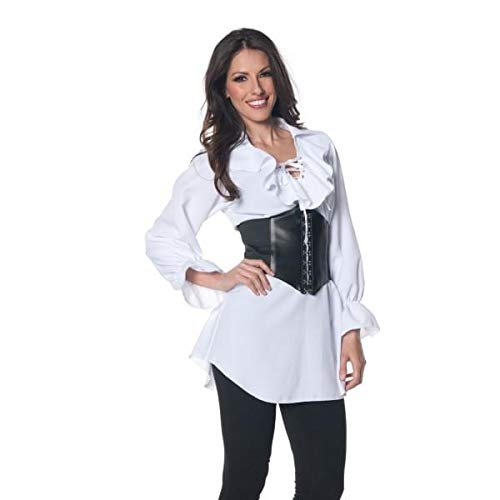 Underwraps Women's Pirate Laced Front Blouse, White, Medium ()
