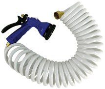 Whitecap 25' White Coiled Hose w/Adjustable Nozzle