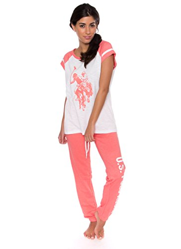 U.S. Polo Assn. Womens 2 Piece Short Sleeve Shirt and Long Pajama Pants Sleepwear Set (Large, White Slub) ()