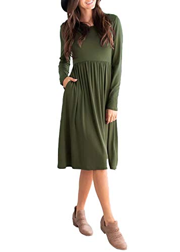 (sullcom Women's Long Sleeve Pleated Loose Swing Casual Plain Empier Waist Midi Dresses with Pockets Plus Size Army Green)