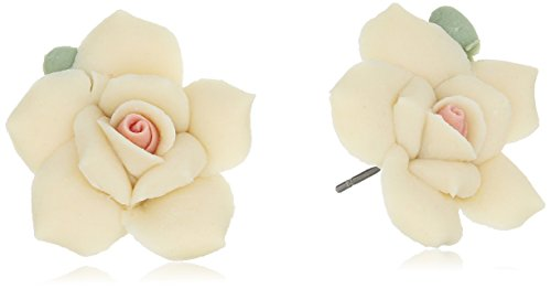 1928 Jewelry Classic Ivory Color Porcelain Rose Post Stud Earrings