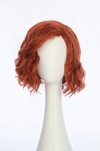 HangCosplay: Black Widow Wig Inspired of avengers age of Ultron Medium Red Curly Cosplay Hair for Adults and Teens -