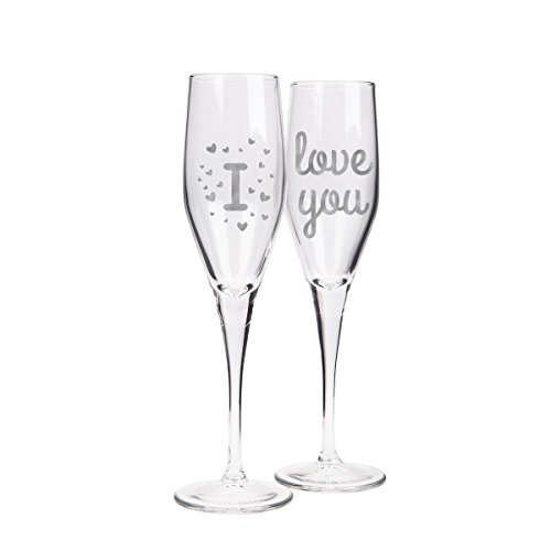 Lovely & Romantic Matching Champagne Glasses for Couples -2 pieces - 5.25 oz - Valentine's Day Flute Gift (I - love you) (Romantic Glass)