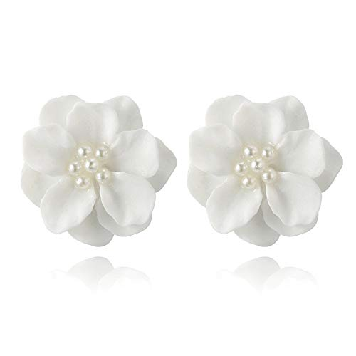 1 Pair Lovely White Flower Pearl Pendant Circle Stud Earrings Fashion Design Jewelry Accessories (White) (Design Cufflinks Pearl Circle)