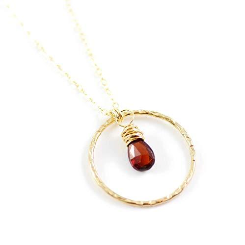 Dark Red Garnet January Birthstone Pendant Necklace - 16