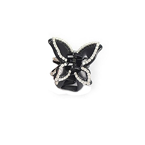 Euone Fashion Women Diamond Butterfly claw clip hair accessories (Black)