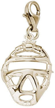 Rembrandt Charms Catcher's Mask Charm with Lobster Clasp, 14k Yellow Gold