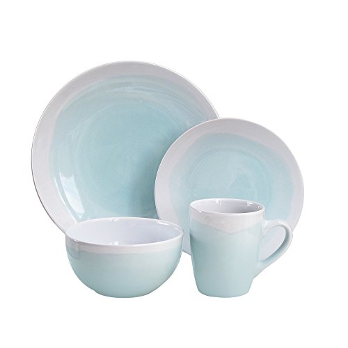 White 16 Oz Round Dish - American Atelier Oasis Dinnerware Set (16 Piece), Mint/White