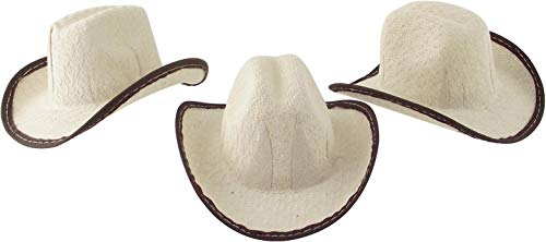 Mini Cowboy Hat, 2 inches Tall Size - 12 Pack (Beige)